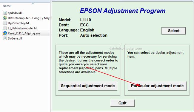 Reset máy in Epson L1110