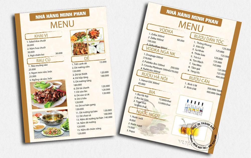 Địa chỉ làm menu giá rẻ